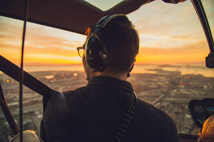 man seeing the view from a helicopter
