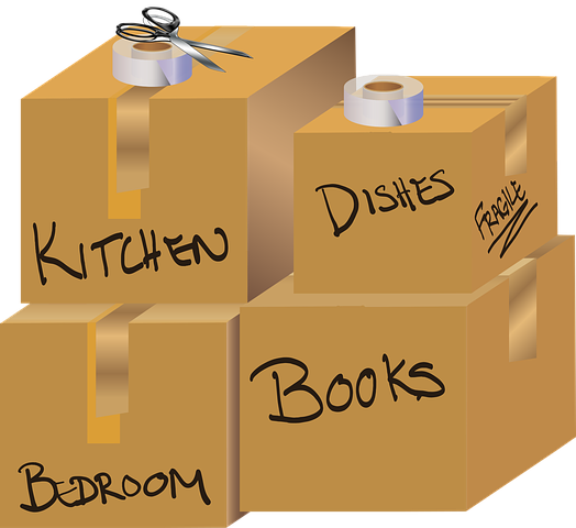 boxes with labels for moving homes